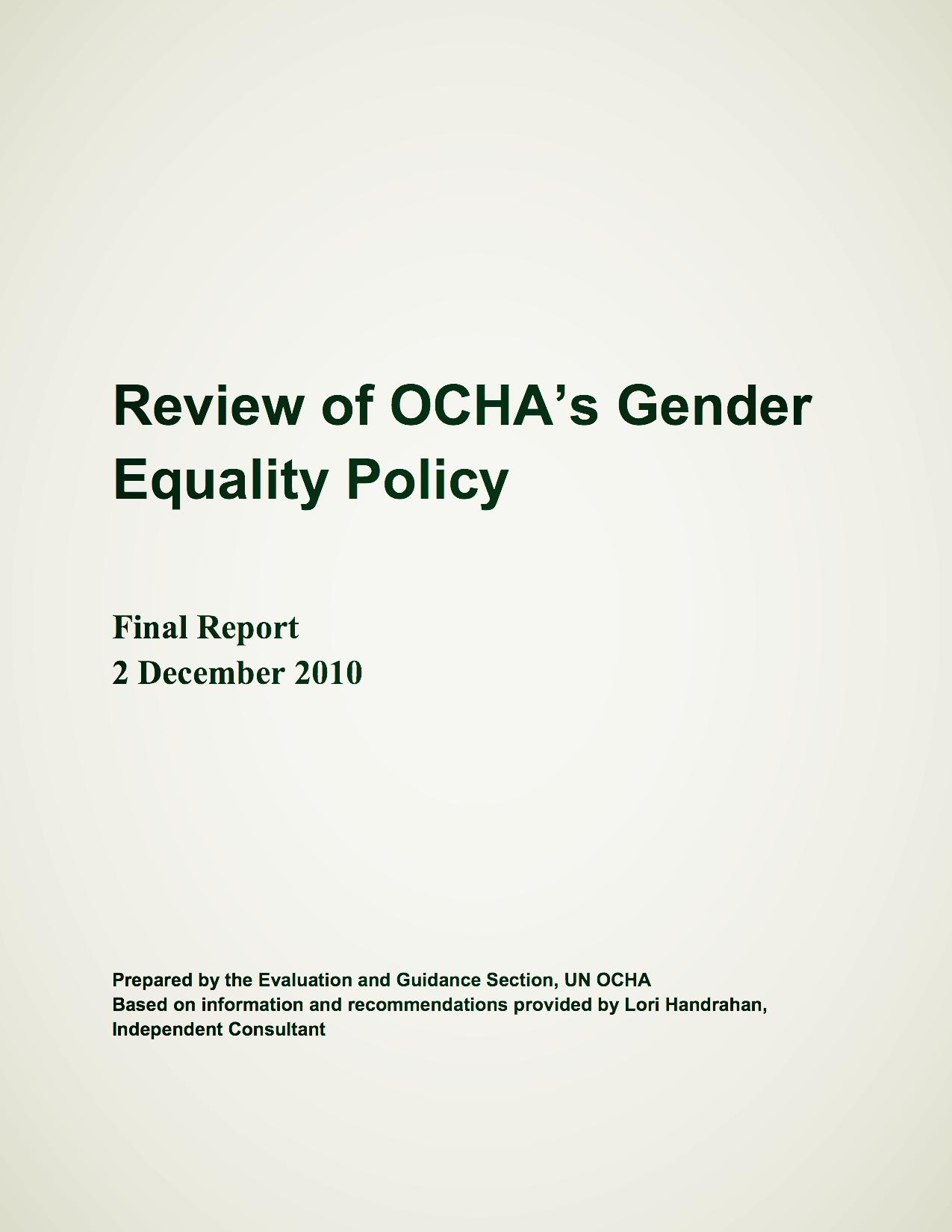 OCHA Report 2010