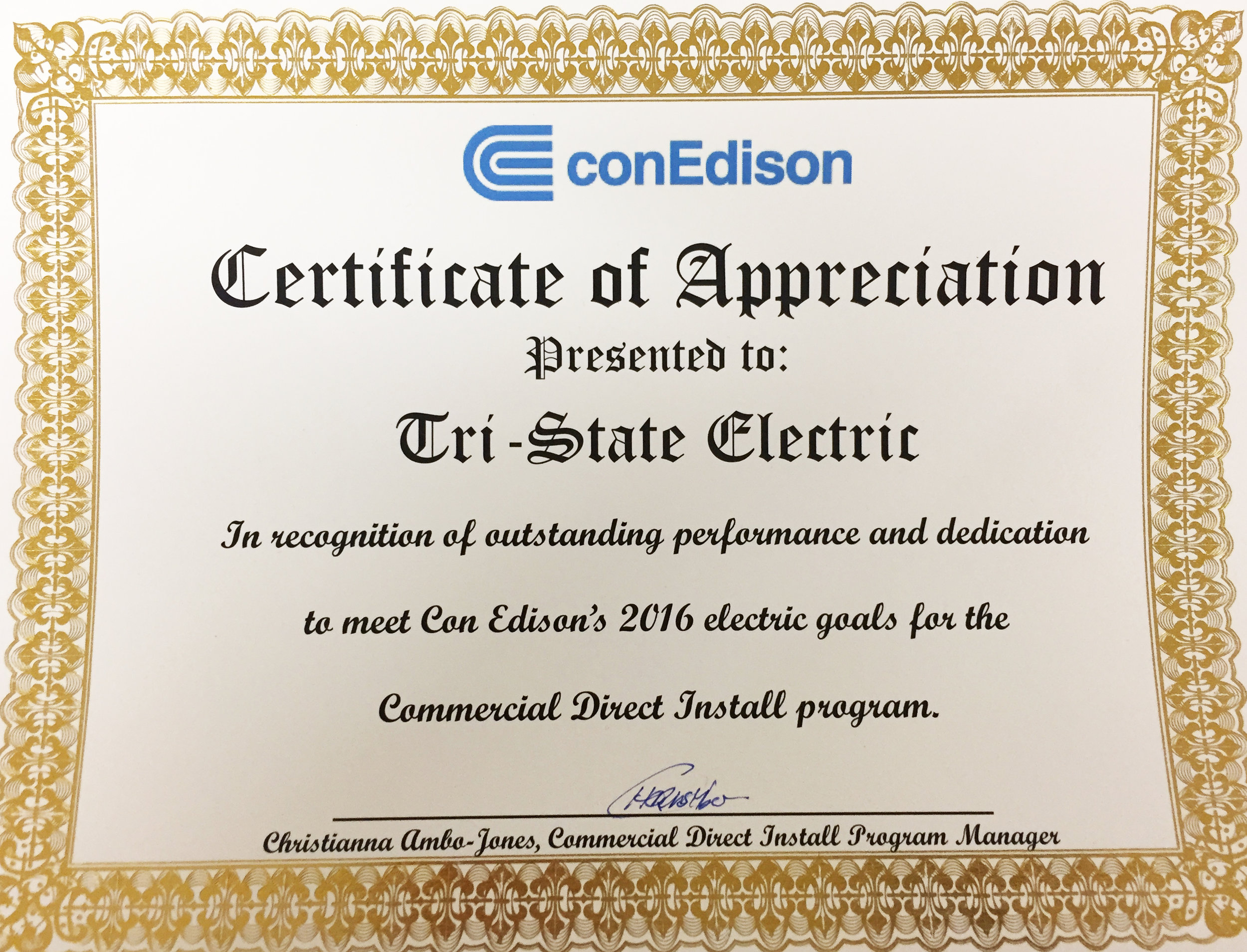 Con Edison Commercial Direct Install Program 2016 Award Winner
