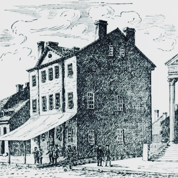 "City Tavern, est. 1773, Philadelphia, Pennsylvania. The City Tavern opened in 1773 to huge fanfare and was billed as the one of the fanciest establishments in the colonies. The Tavern's location in downtown Philadelphia made it popular with delegates to the Continental Congress. George Washing rang up a $15,000 bill for his retirement party here, and John Adams once called it ""the most genteel tavern in America"". With the growing popularity of the hotel in the early 1800s, the tavern fell into disrepair and was eventually destroyed. Using period illustrations such as this, the National Park Service built a near-exact replica of the City Tavern in 1976 for America's bicentennial celebration. Today the City Tavern specializes in providing an authentic colonial drinking and dining experience. . . . #tavern #saloon #pub #bar #philadelphia #philly #citytavern #pennsylvannia"