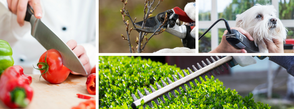 Knife cutting tomato, Secateurs, Dog Clippers, Hedge Trimmers