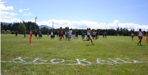 Use line marking spray paint to mark out the zones such as Te Roto, Te Wairua & Pawero