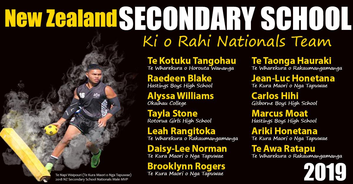 NZ Secondary School Ki o Rahi Team 2019