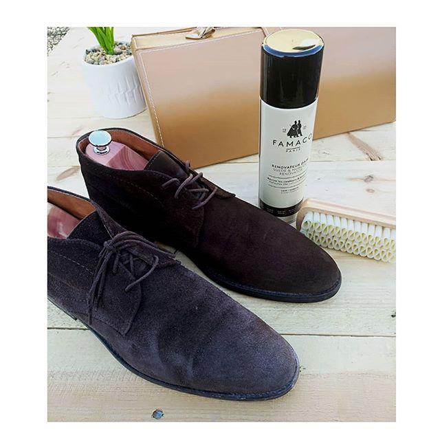 🇫🇷 La différence entre les deux chaussures? Le Rénovateur Daim Marron Foncé Famaco! Essayez vous n'en reviendrez pas! 🇬🇧 The difference between right and left? The dark brown Famaco Rénovateur Daim! Try it! You'll see how bluffing it is!  #suedeshoes #brownshoes #chaussuresendaim #daimmarron #upcycling #famaco