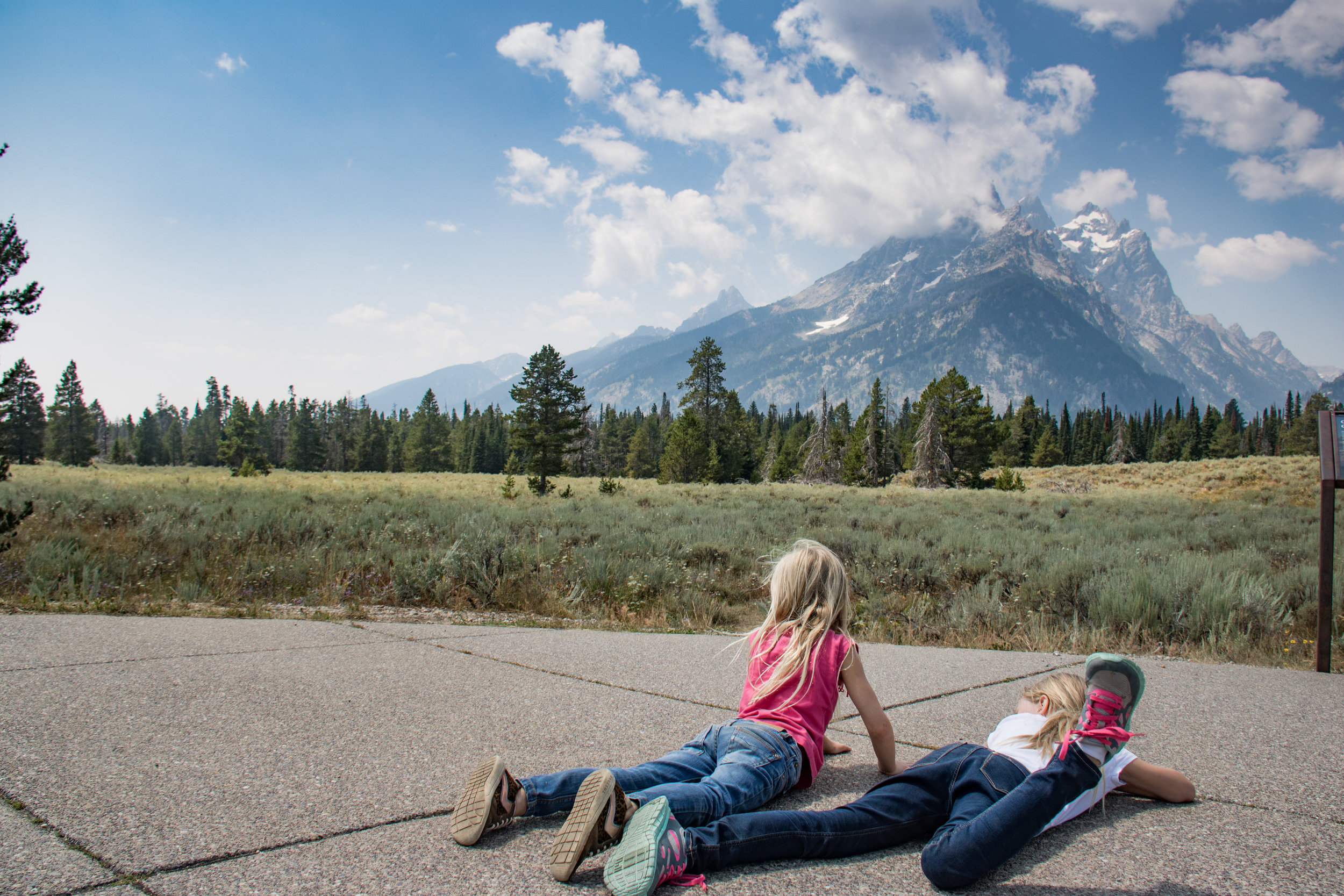 In front of the Tetons