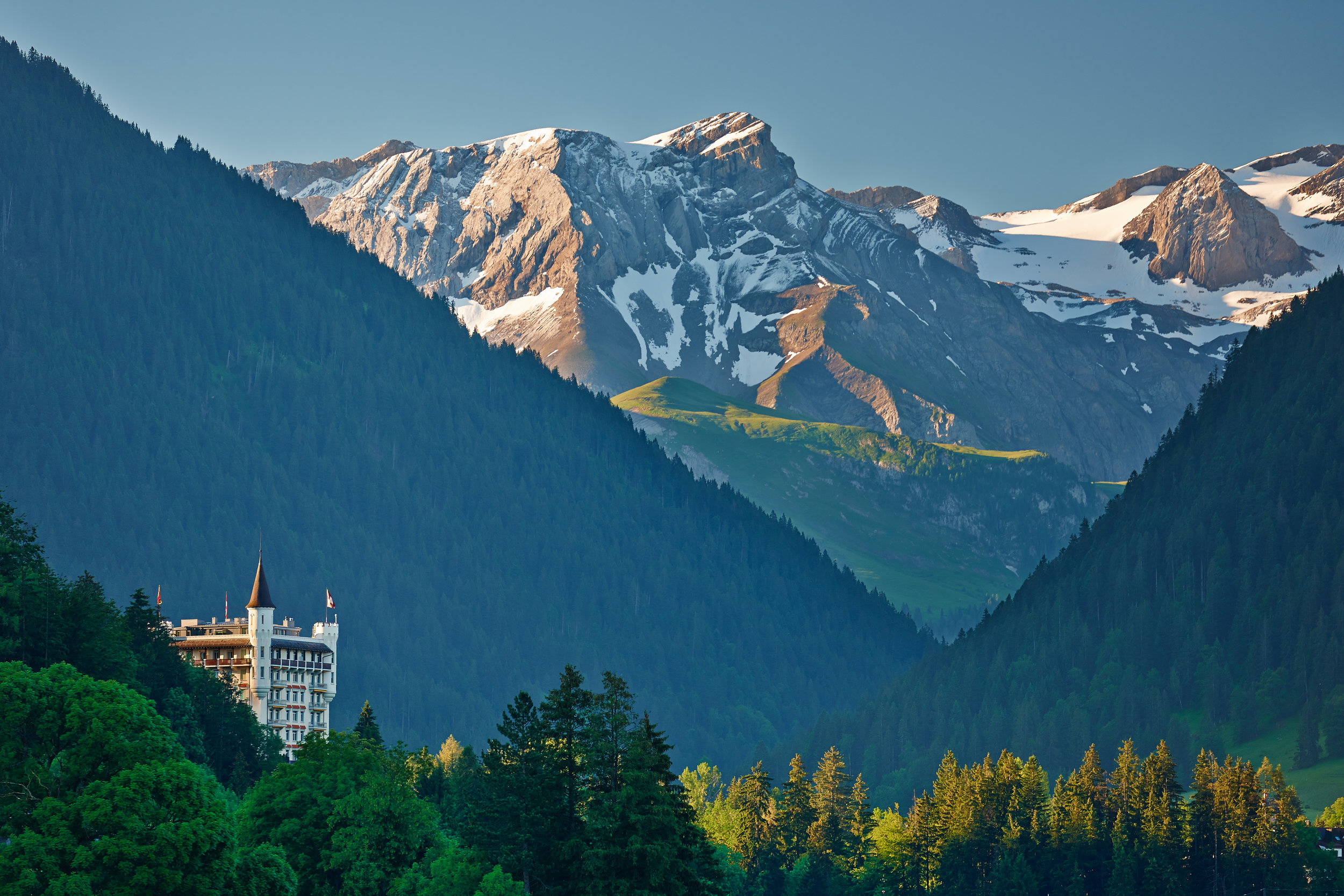 Gstaad Palace rised above the city