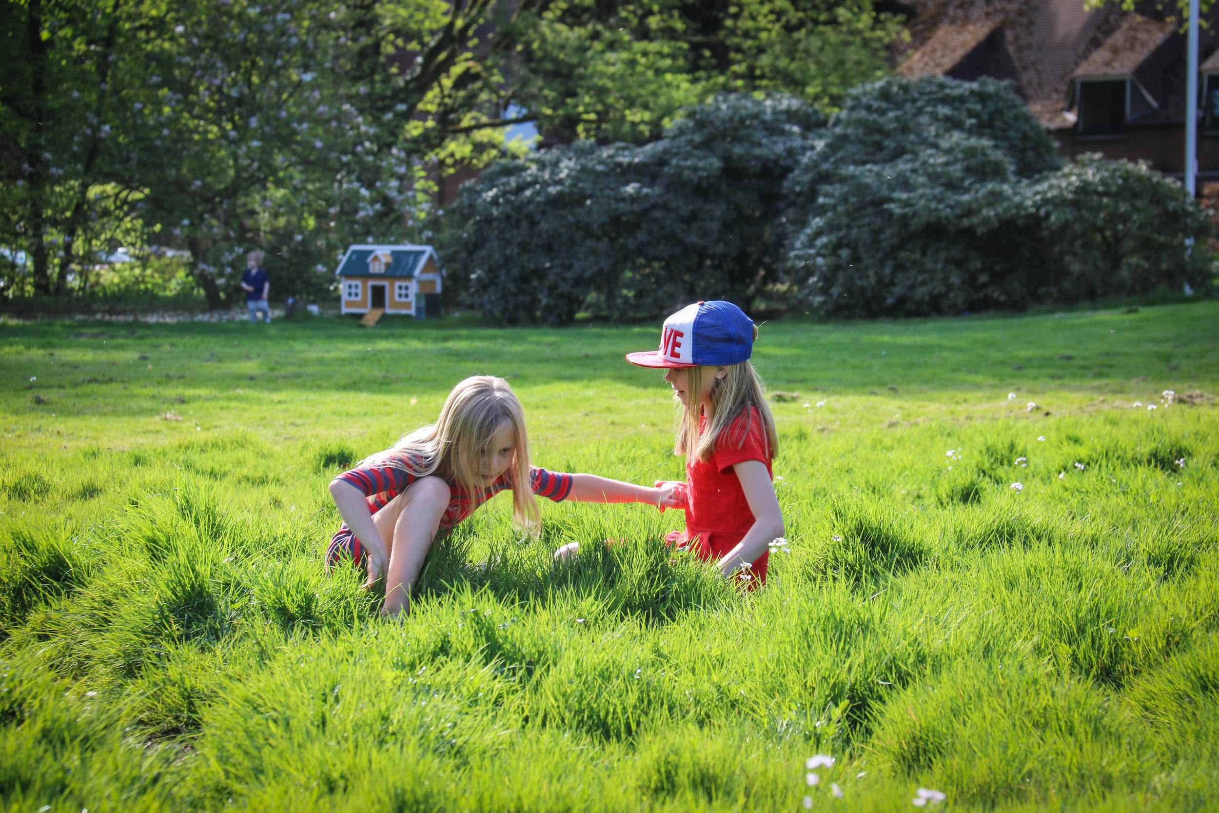 Fun by running through the bumpy grass field