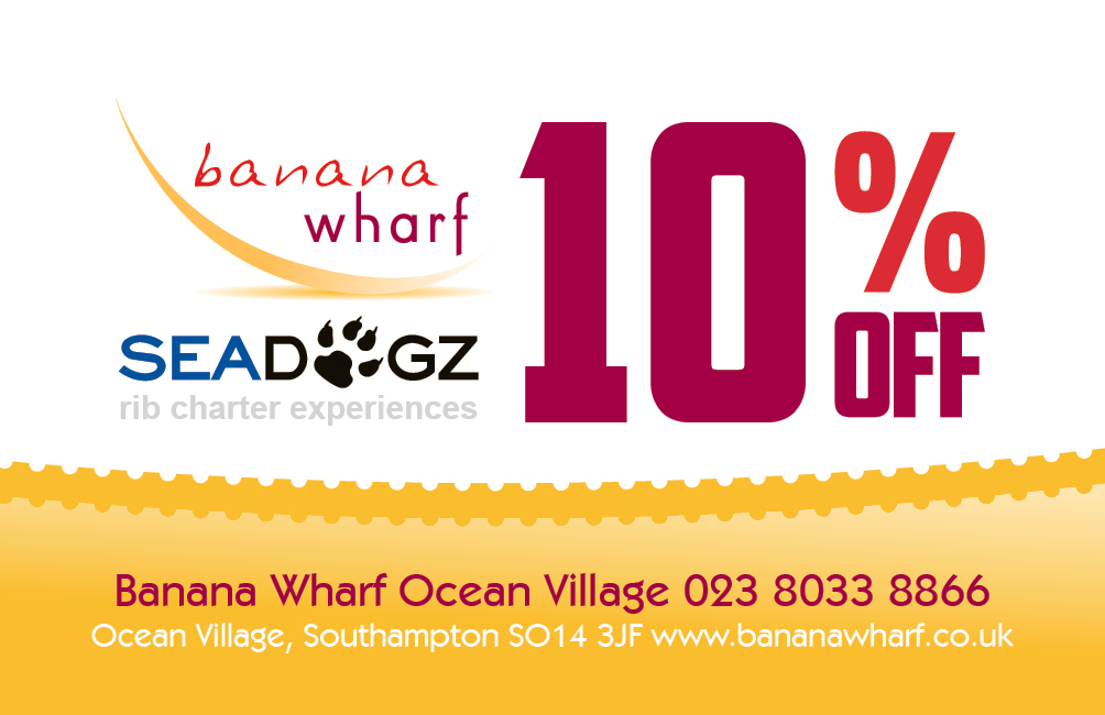 10% discount in Banana Wharf with every Seadogz booking!