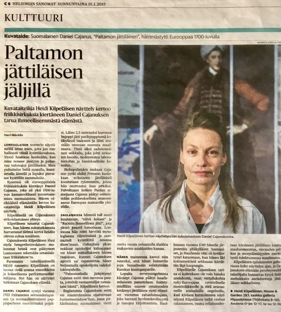 Helsingin Sanomat: Culture / Visual Arts 15.1.2017