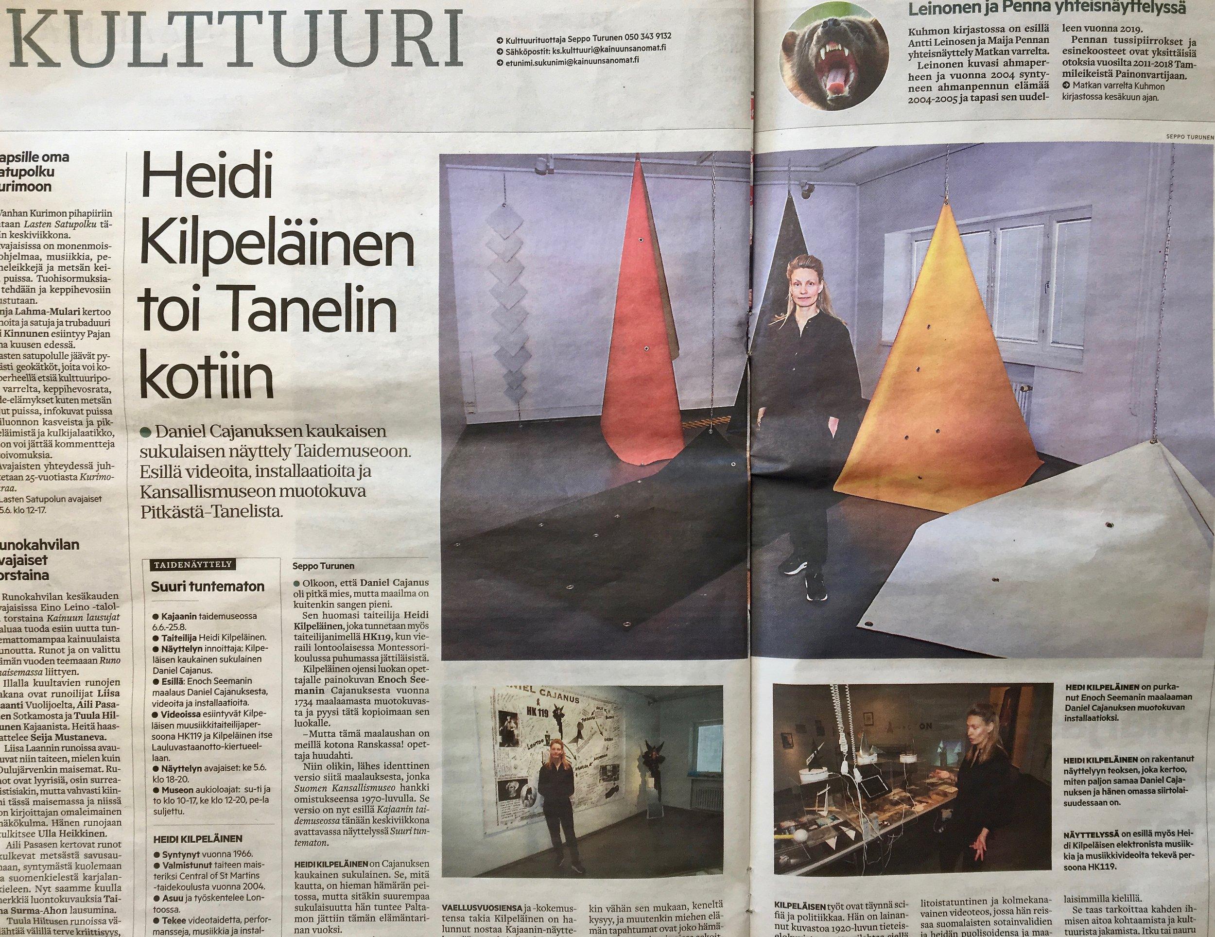 Kainuun Sanomat: Heidi Kilpeläinen toi Pitkän-Tanelin kotiin Enoch Seemanin tauluna ja omana installaationaan
