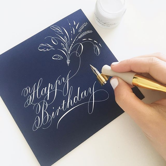 On Thursday we fly to Zambia to go see family and to celebrate my husbands 30th birthday! ✈️ so excited to travel, explore and play with our wonderful nieces. ☀️ This card was made with a Nikko G nib, a Moblique penholder and my pure white calligraphy ink, all available in my shop (link in bio). #happybirthday #birthdaycard #calligraphy #copperplatecalligraphy #flourishconfidently #takeprideinpenmanship #scottishcalligrapher #scottishcalligraphy #navyandwhite #calligraphycard #card