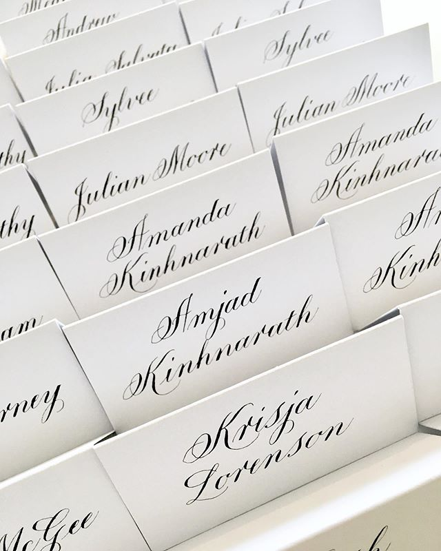 Formal Copperplate Place Cards  for a 40th birthday celebration weekend at @fyviecastle and @wardhillcastle . The couple have flown over especially from New York with friends and family! ✈️ #copperplatecalligraphy #calligraphy #formalcalligraphy #traditionalcalligraphy #blackandwhite #placecards #birthdaystationery #wedding #scottishcalligrapher #takeprideinpenmanship #weddingcalligraphy #eventcalligraphy #eventcalligrapher