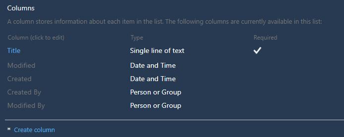 """Abbildung : Columns Abschnitt der Liste """"External Contacts"""""""