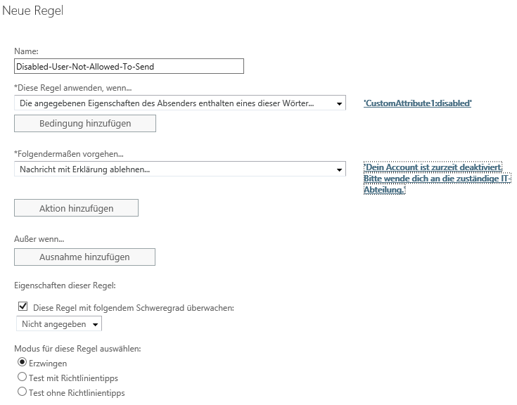 Abbildung 4: Exchange - Neue Regel erstellen