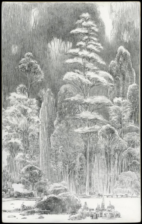 Dans la grande forêt - triptych model- (détail)
