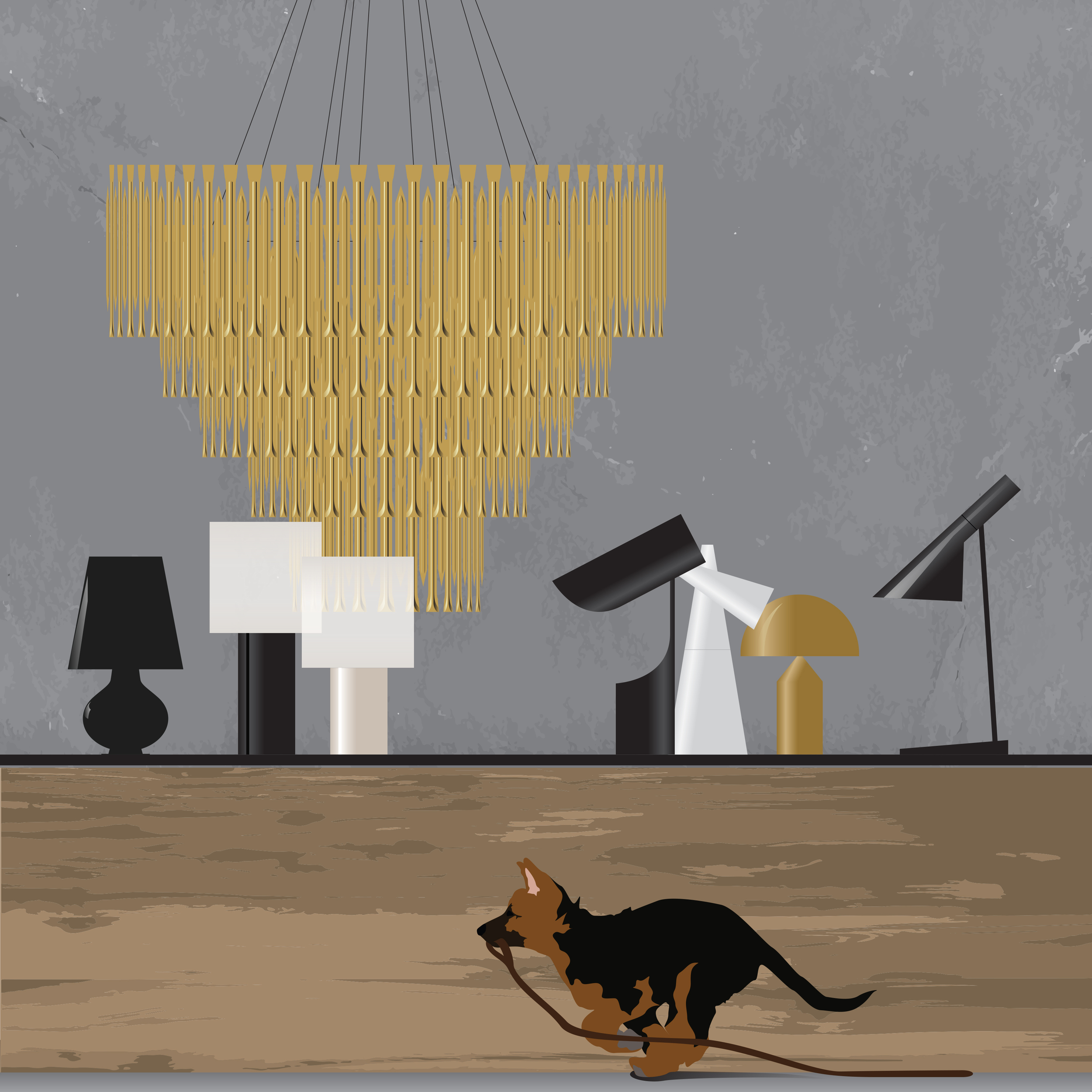 Left to right: Fontana Total Black Table Lamp by FontanaArte, Soho Table Lamp by Venini, Matheny Suspension by Delightfull, 353 Table Lamp by Le Klint, Cornet Table Lamp by Estiluz, Atollo Table Lamp by Oluce Srl, AJ Table Lamp by Louis Poulsen