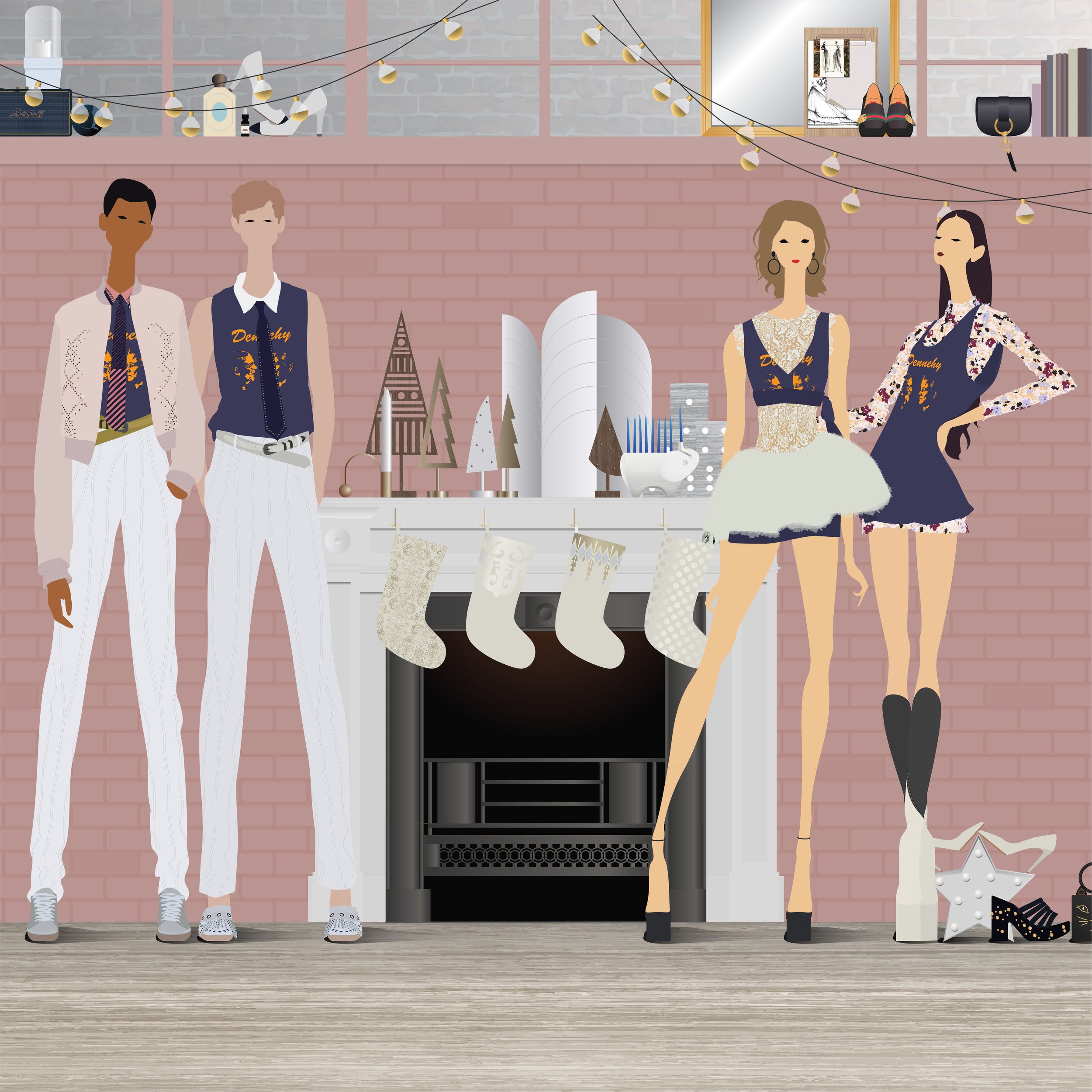 Left to right: Bottega Veneta Men's S18 outfit, vintage Chanel pumps, Bottega Veneta Mens S18 outfit, Giambattista Valli SS17 outfit, Gucci loafers, Giambattista Valli SS17 dress, Gucci boots