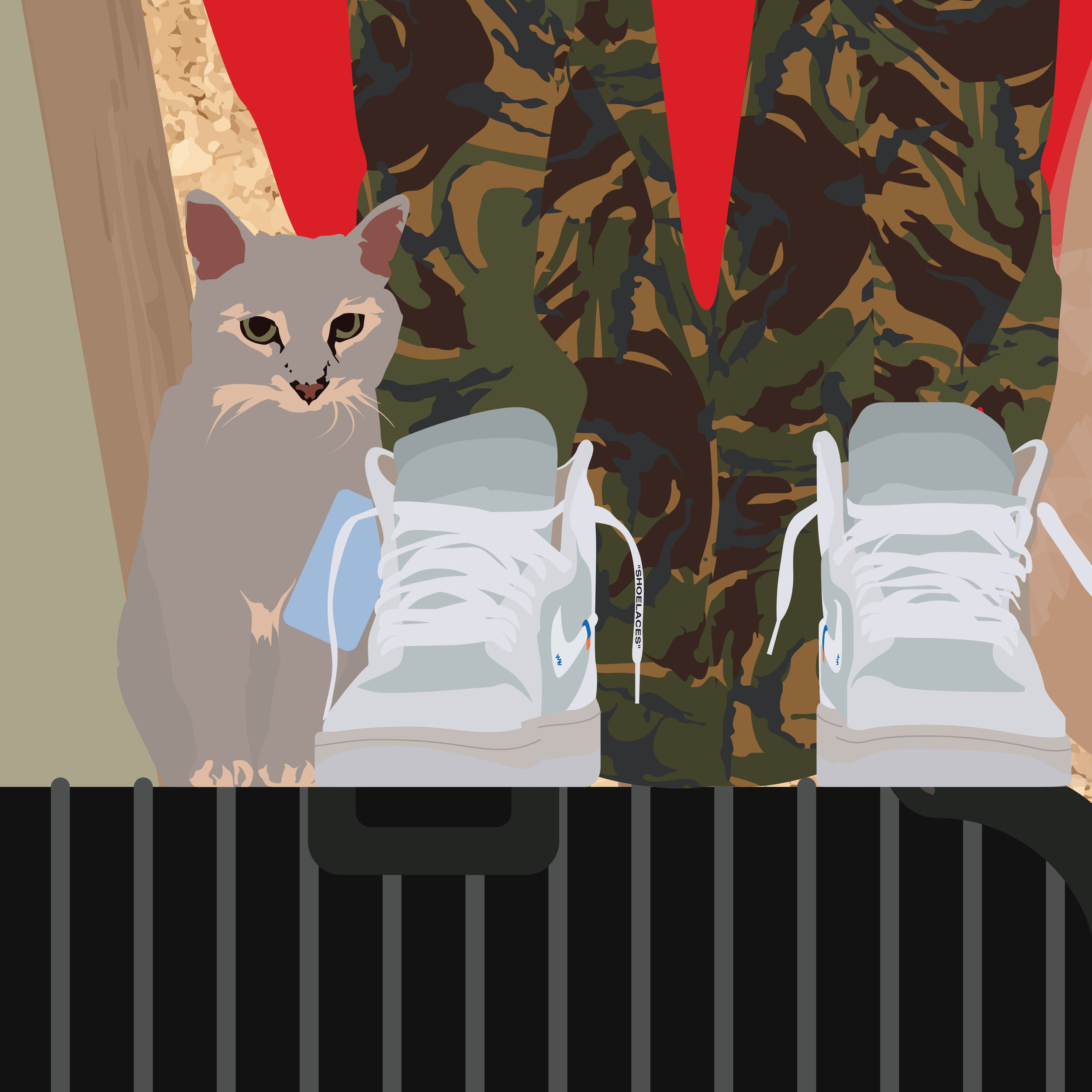Left to right: Comtesse Odette, Abloh Nike Air Jordan 1, Louis Vuitton Sweater, Off_White Camo Pants