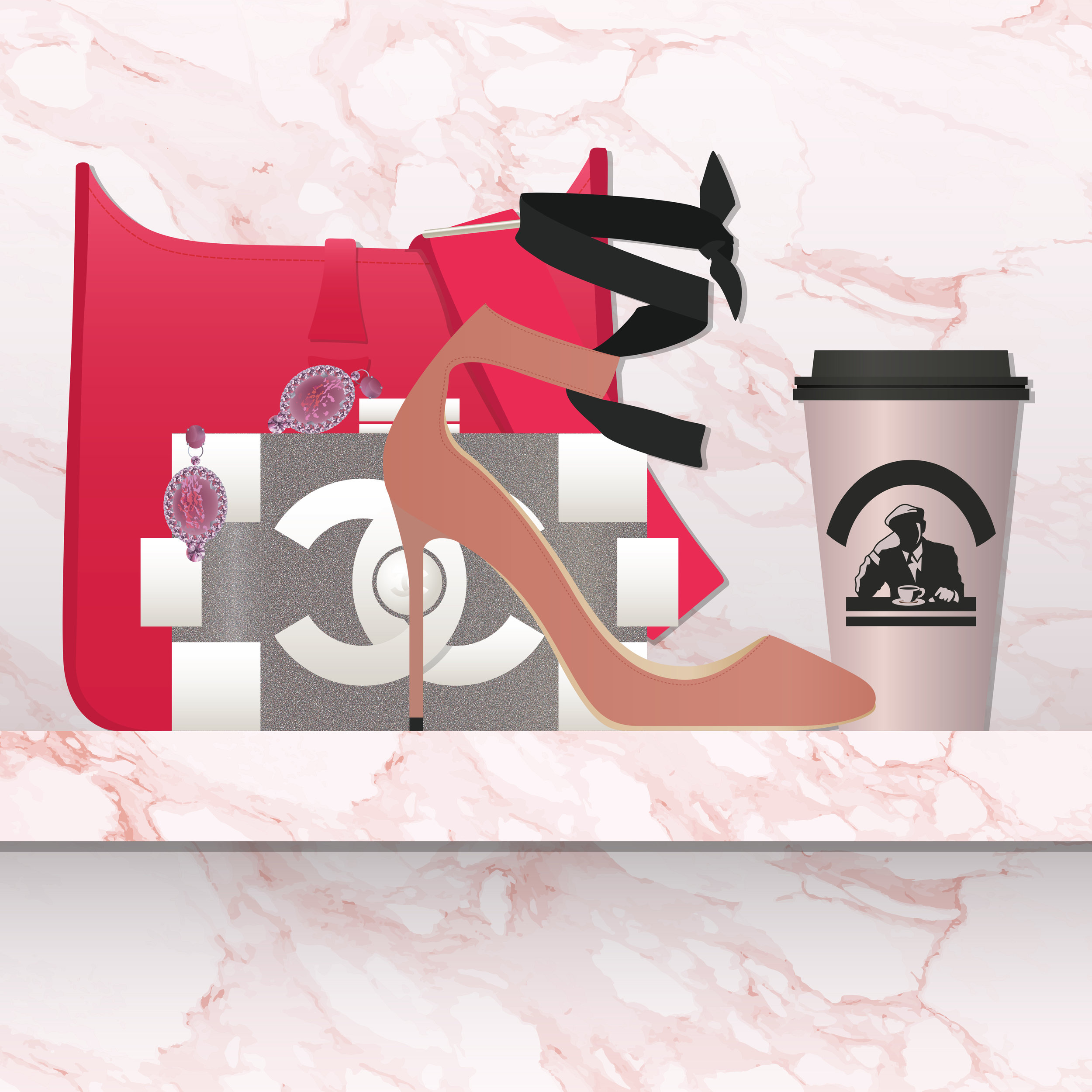 Left to right: Hermes Rouge Pivoine Clemence Leather Evelyne PM I Bag, Thorin Pink Marble Earring, Chanel Lego Clutch, Jimmy Choo Pink Rosana Velvet and Leather Ankle-Tie Pumps, Joe & The Juice Cup