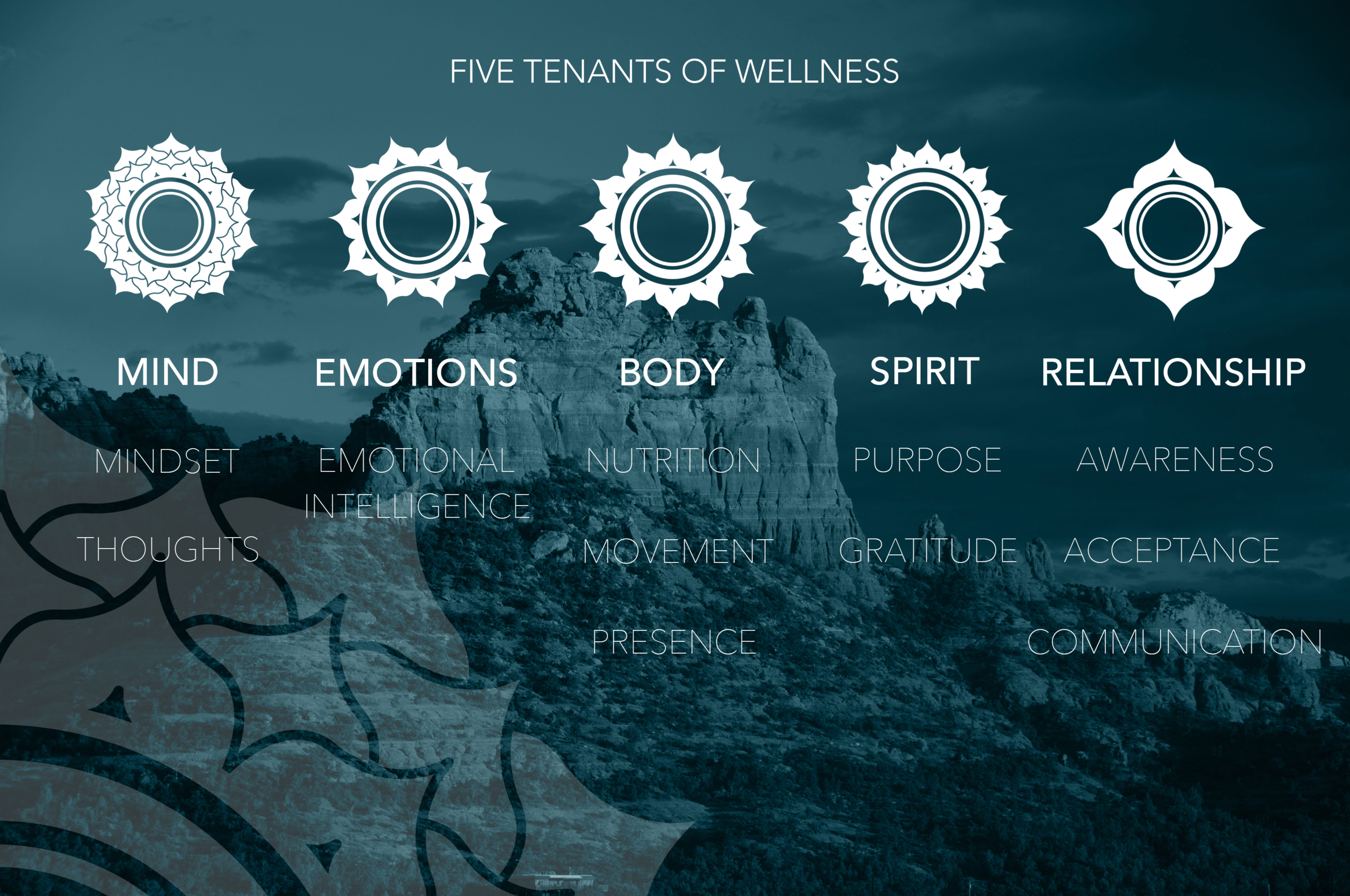 The 5 tenant model is the original work of Dr. Suzanne Nixon and is comprised of the belief that Whole Health, Whole Being, is comprised of all aspects of the self: Mind, Emotions, Body, Spirit and Relationships.