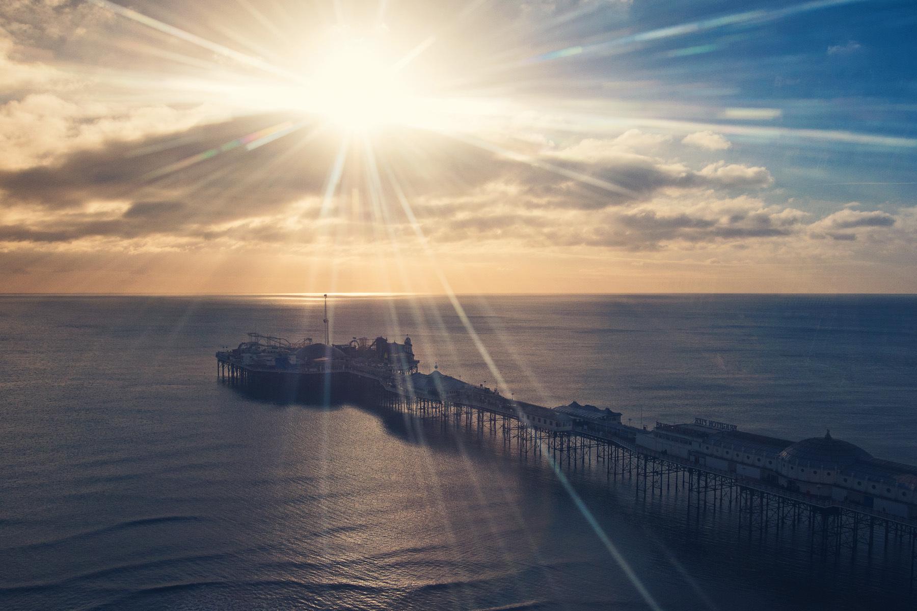 Brighton Pier from Air, Brighton, East Sussex, England