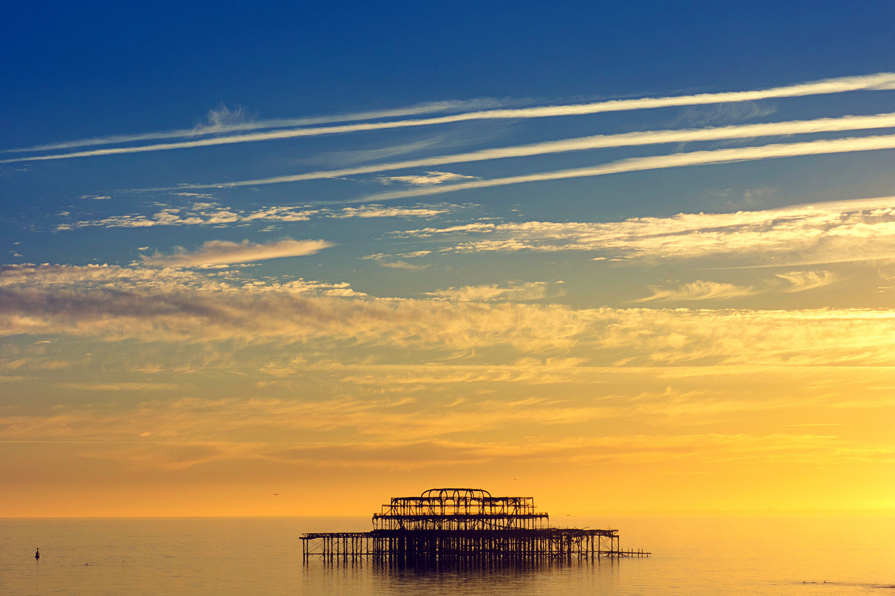 West Pier at Sunset, Brighton, East Sussex, England