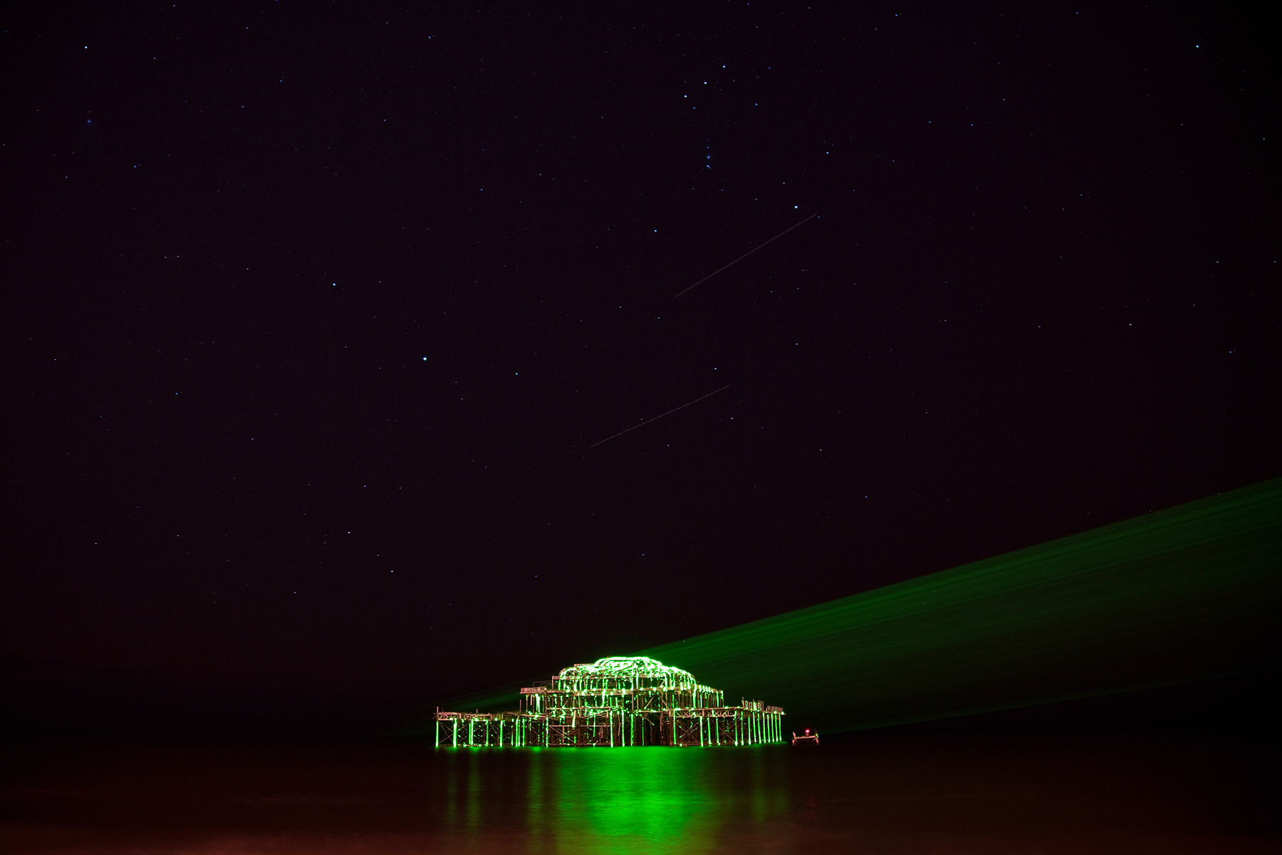West Pier at Night, Brighton, East Sussex, England