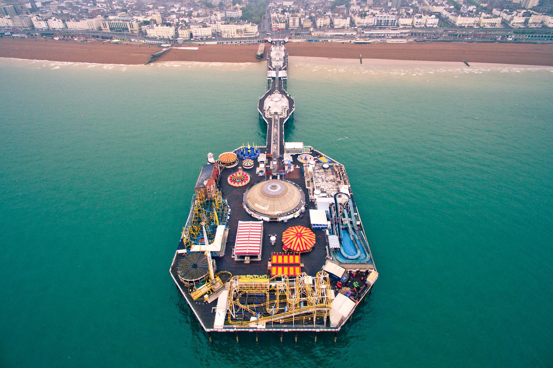 Brighton Pier from above, Brighton, East Sussex