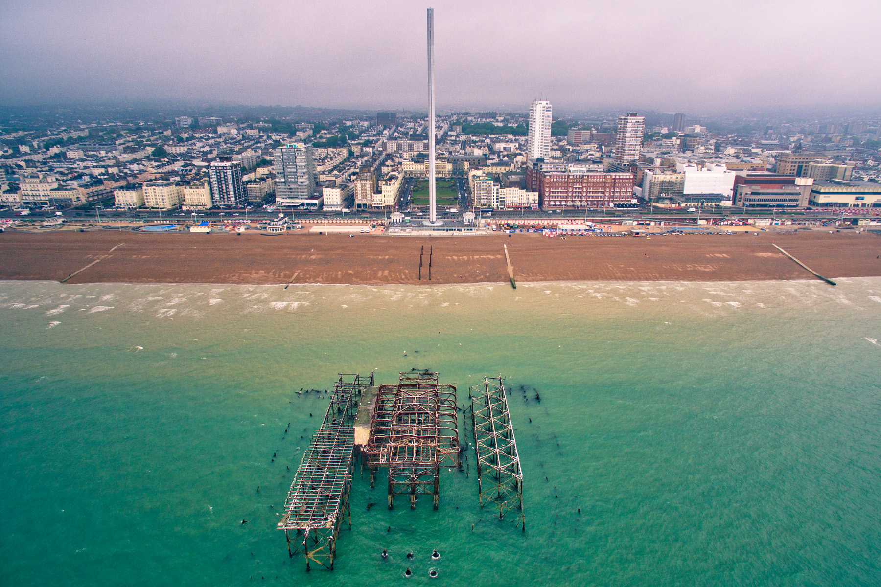 West Pier from above, Brighton, East Sussex