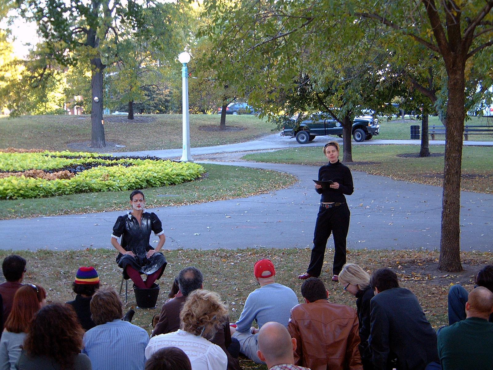 Invisible Garden Reading: performance, Dana Vinger 2004