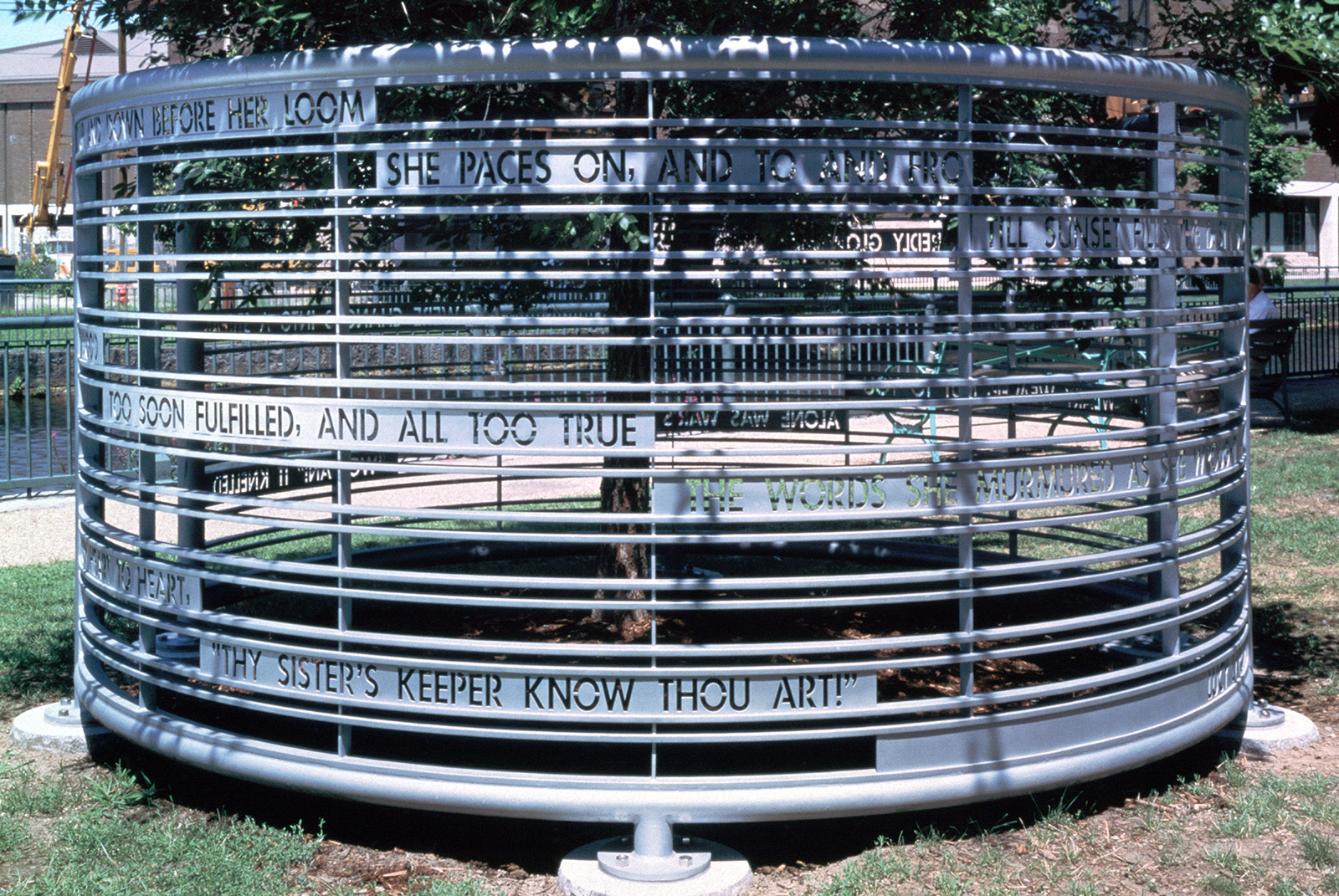 Circular Fence Sculpture with Poem, installation view 1997, Photo: B.T. Martin