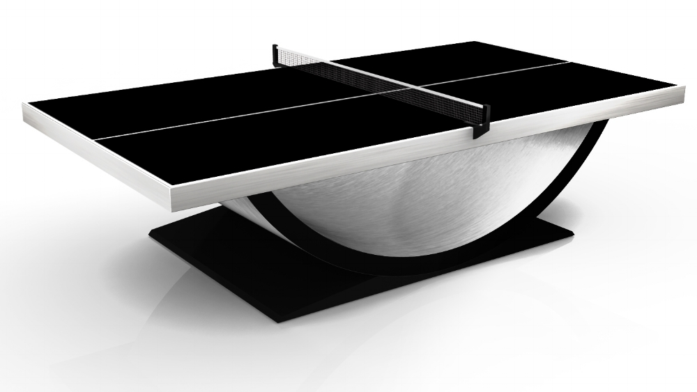 Theseus Table Tennis Table in Brushed Aluminum