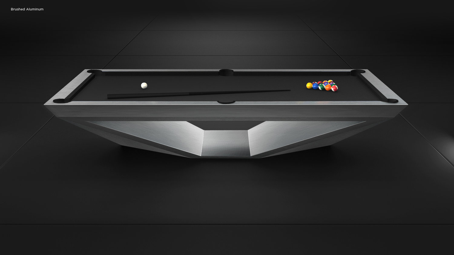 Stealth Billiards Table in Brushed Aluminum