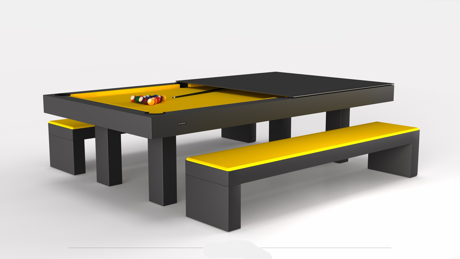 Malibu Billiards Table with a Dining Conversion Top and Benches