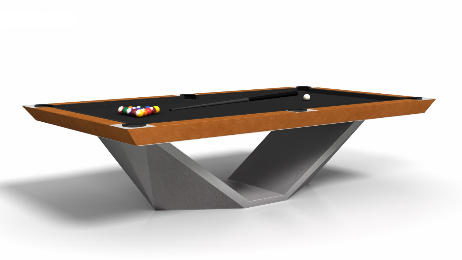 Stealth Billiards with a Stainless Steel Base and Leather Apron
