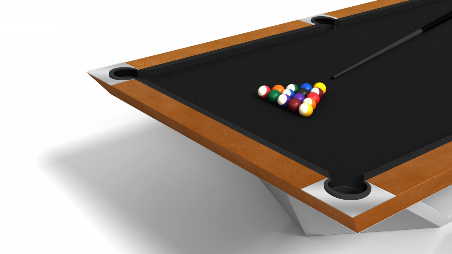 Stealth Billiards Table with a Leather Apron and Rails