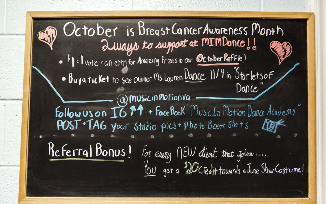 Community Chalkboard Announcements for Charity Raffle