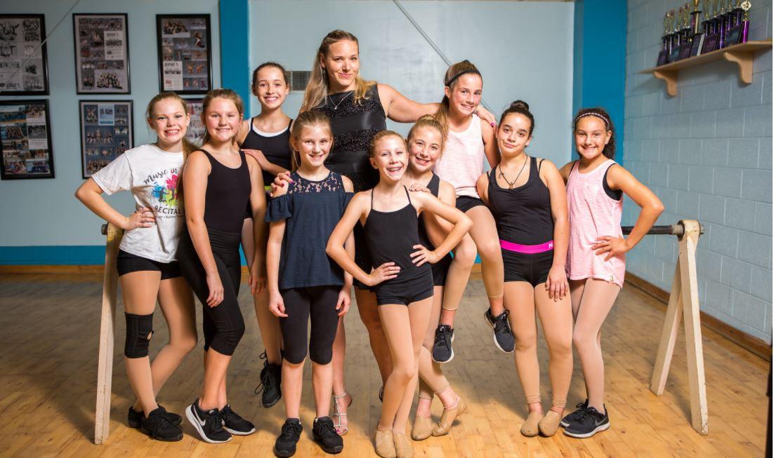 Lauren with students.JPG