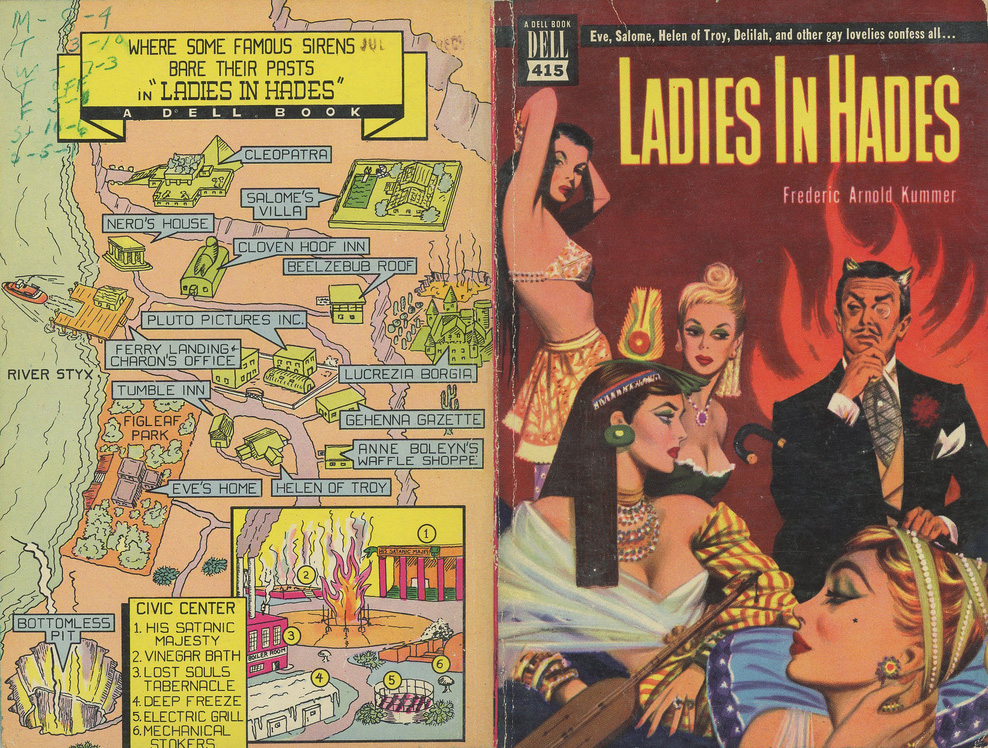 Ladies in Hades (Dell Books) back cover map for crime thriller, USA 1950, courtesy Steven Guarnaccia