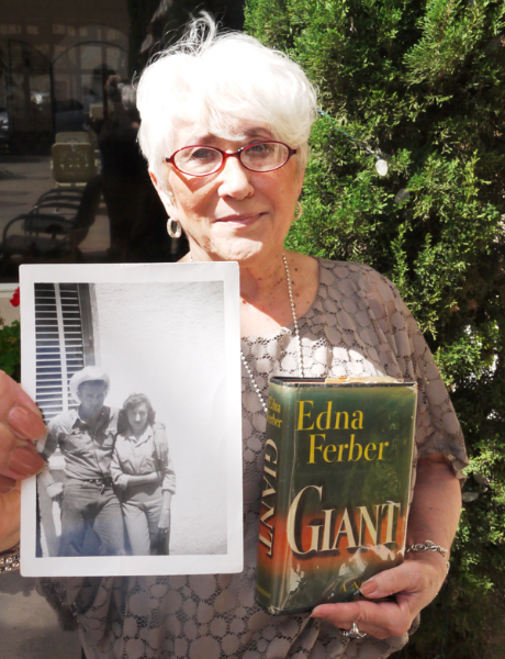 Jeri Russell and the photo taken with James Dean and Edna Ferber's novel, Giant.