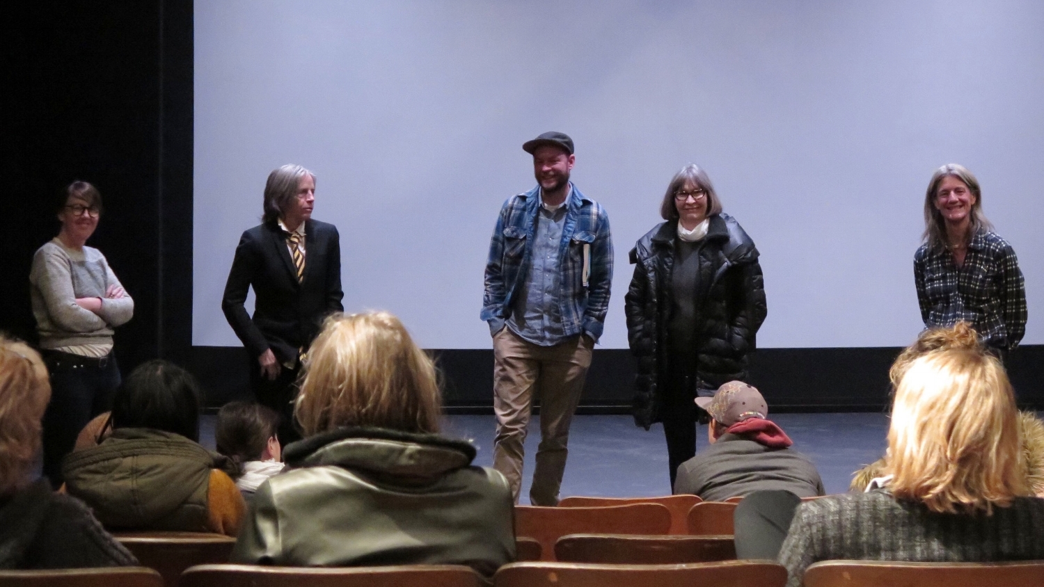 From left, Caitlin Murray, Eileen Myles, Tim Johnson, Carolyn Pfeiffer, and Peggy O'Brien. Not pictured is Elise Pepple.