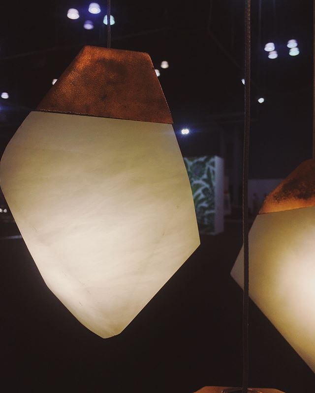 Our neighbors are fantastic! Come see their cascading carved alabaster gem lights 💎 ✨ @randyzieber booth 2267 @icff_nyc  I want a hundred of these.  #lighting #sculpture #icff #icff2018 #handmade #design #artist #supportartists #buylocal #brass #alabaster #americashat #interiordesign #designer #midcenturymodern #designmilk  #hgtv #