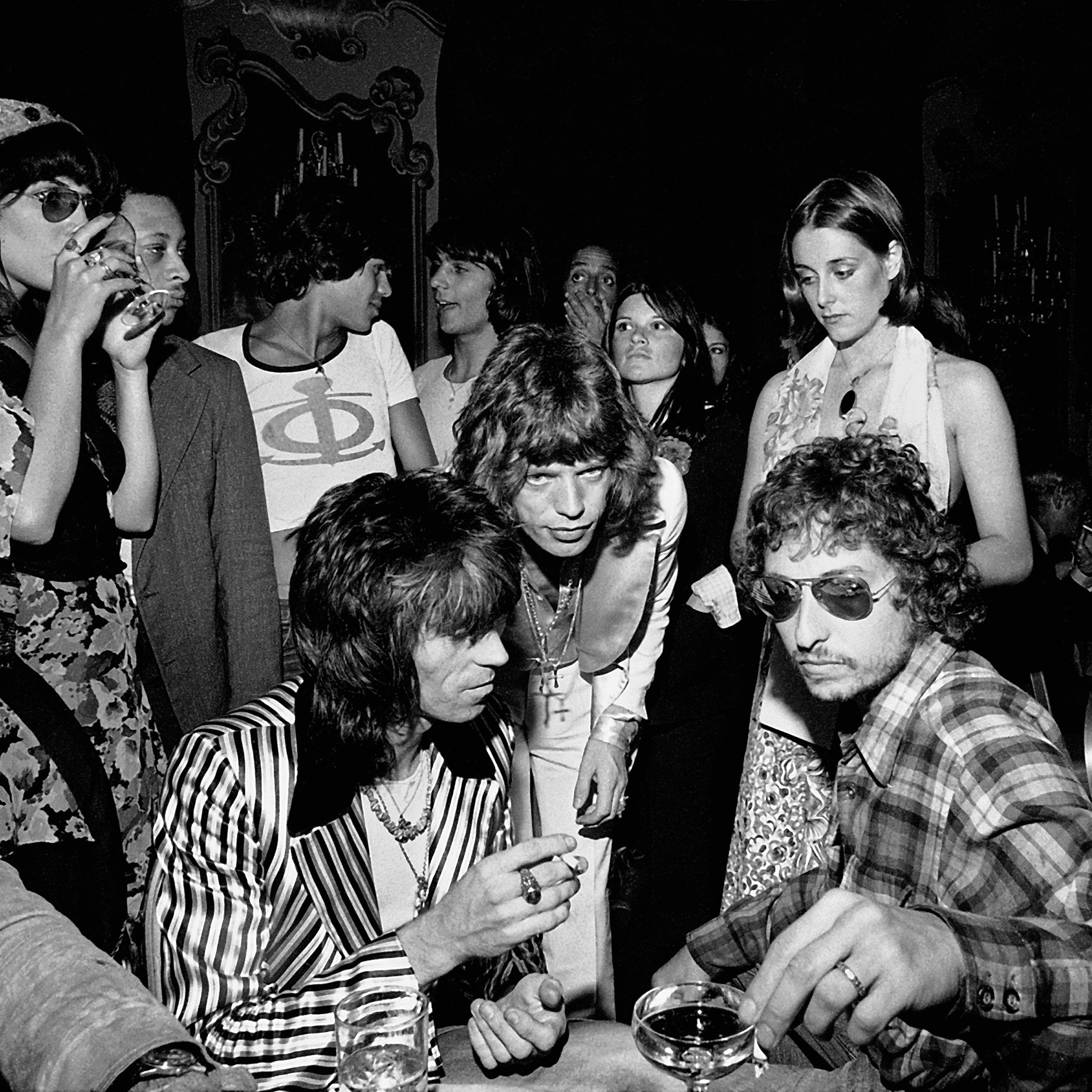 1972 Keith Richards, Mick Jagger and Bob Dylan