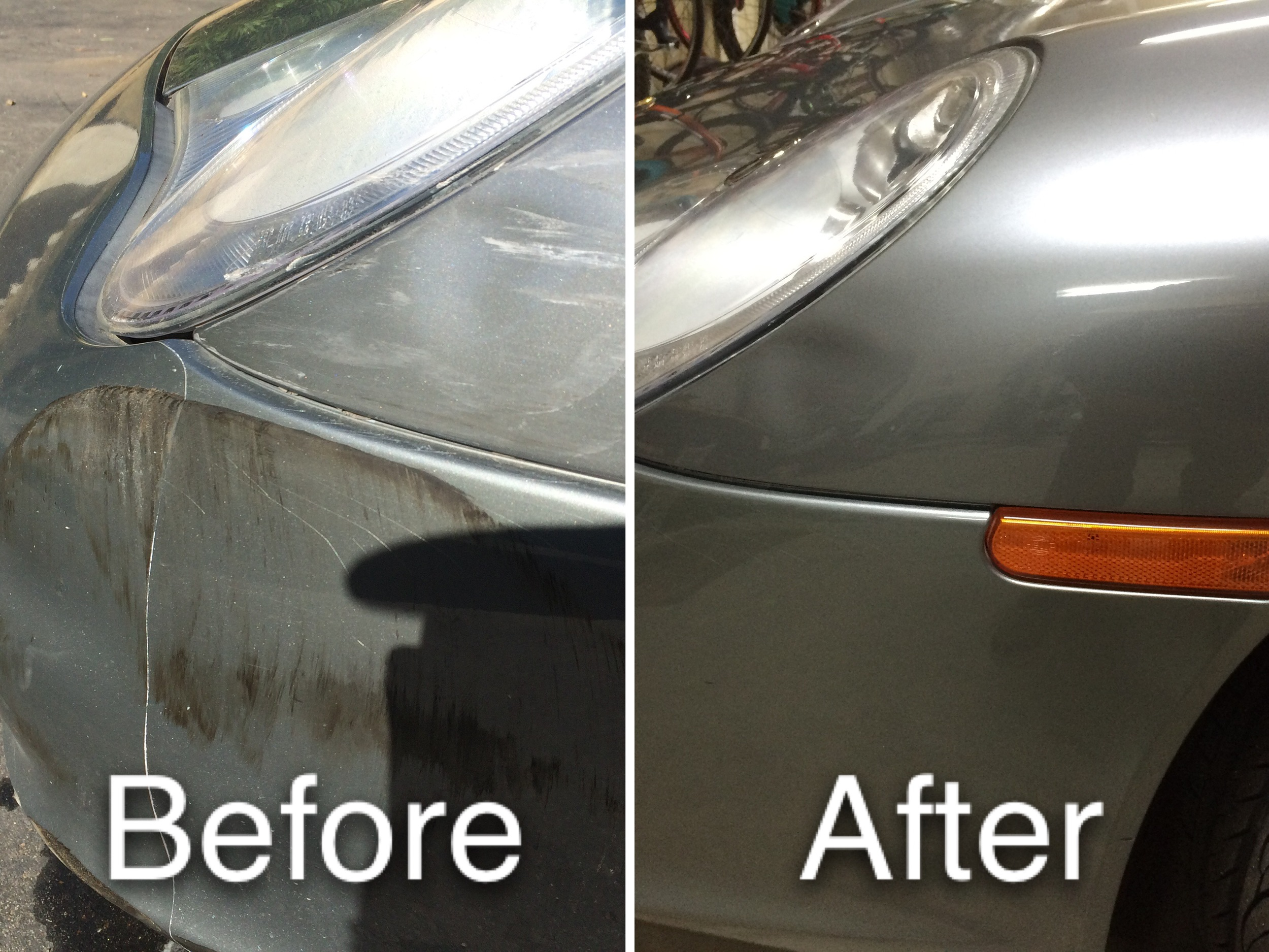 Foreign paint and rubber marks were removed using our Flex polisher with a medium cut polish.