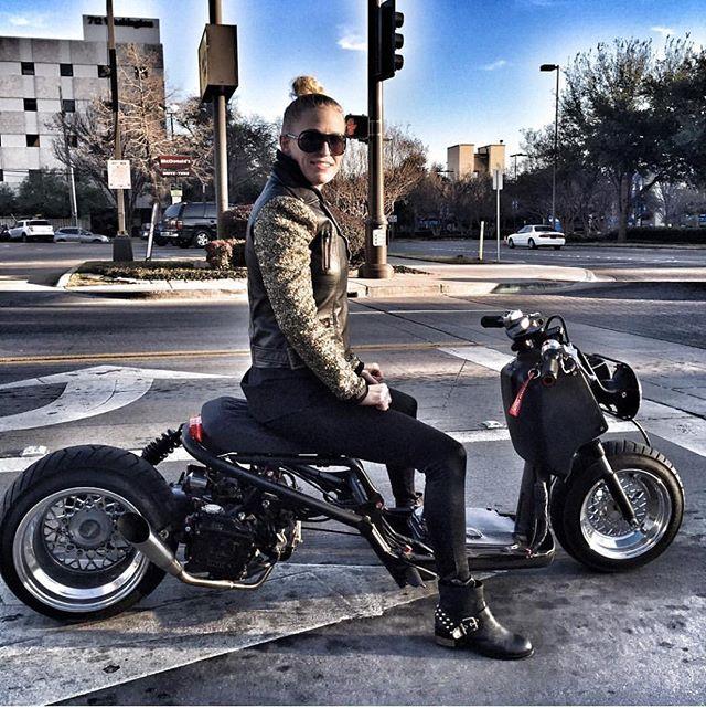 Girls that's ruck repost @ruckgirls !  Super sick 50cc build ! FLP 4x140 bbs 10x4 front flp bbs on drum brakes