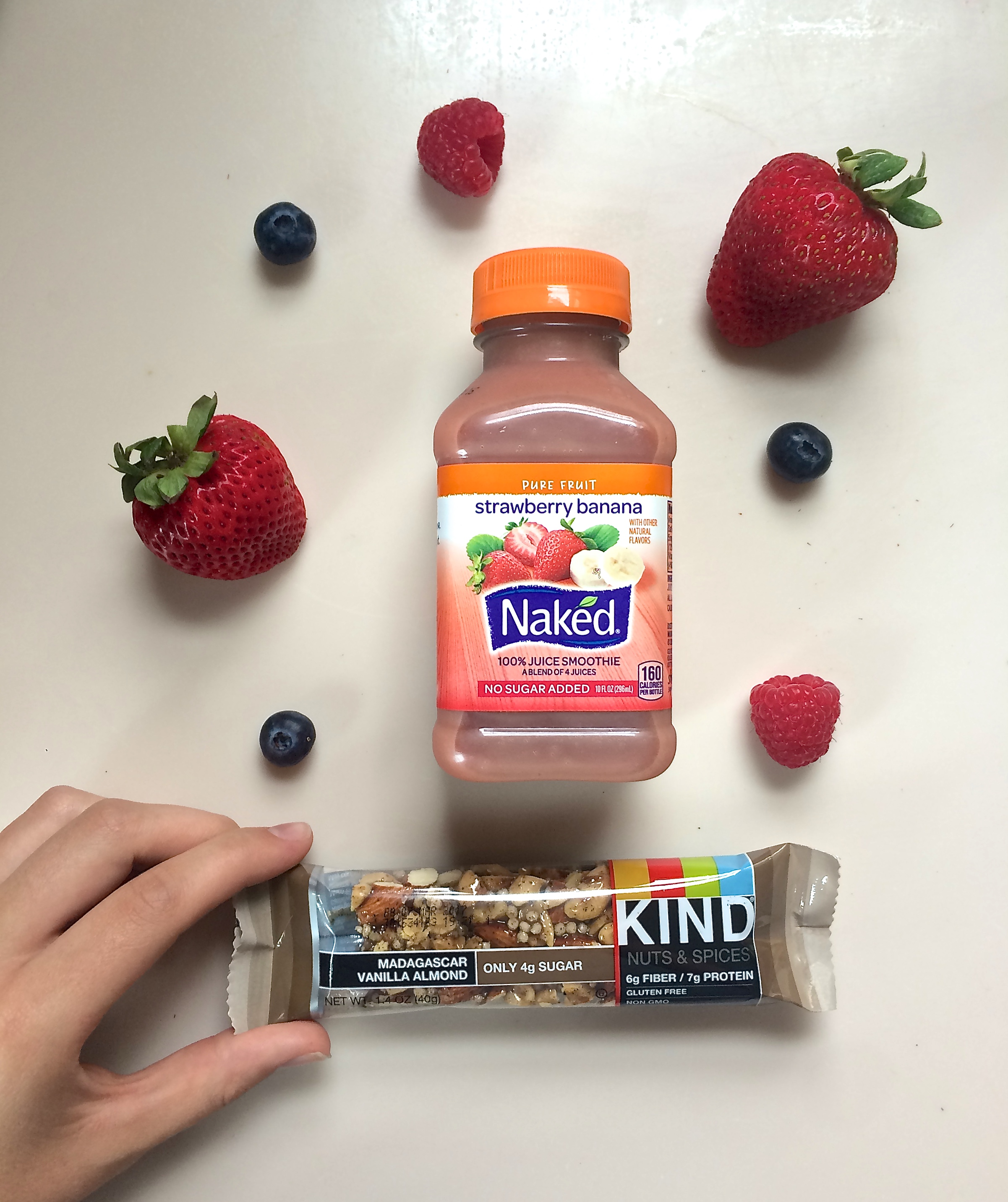 I'v been going on early morning runs recently, so having NAKED juice stocked in the refrigerator has been very convenient for an on-the-go breakfast. Additionally, these KIND bars come in so many different flavors which I love to stash into my bag for an after workout snack.