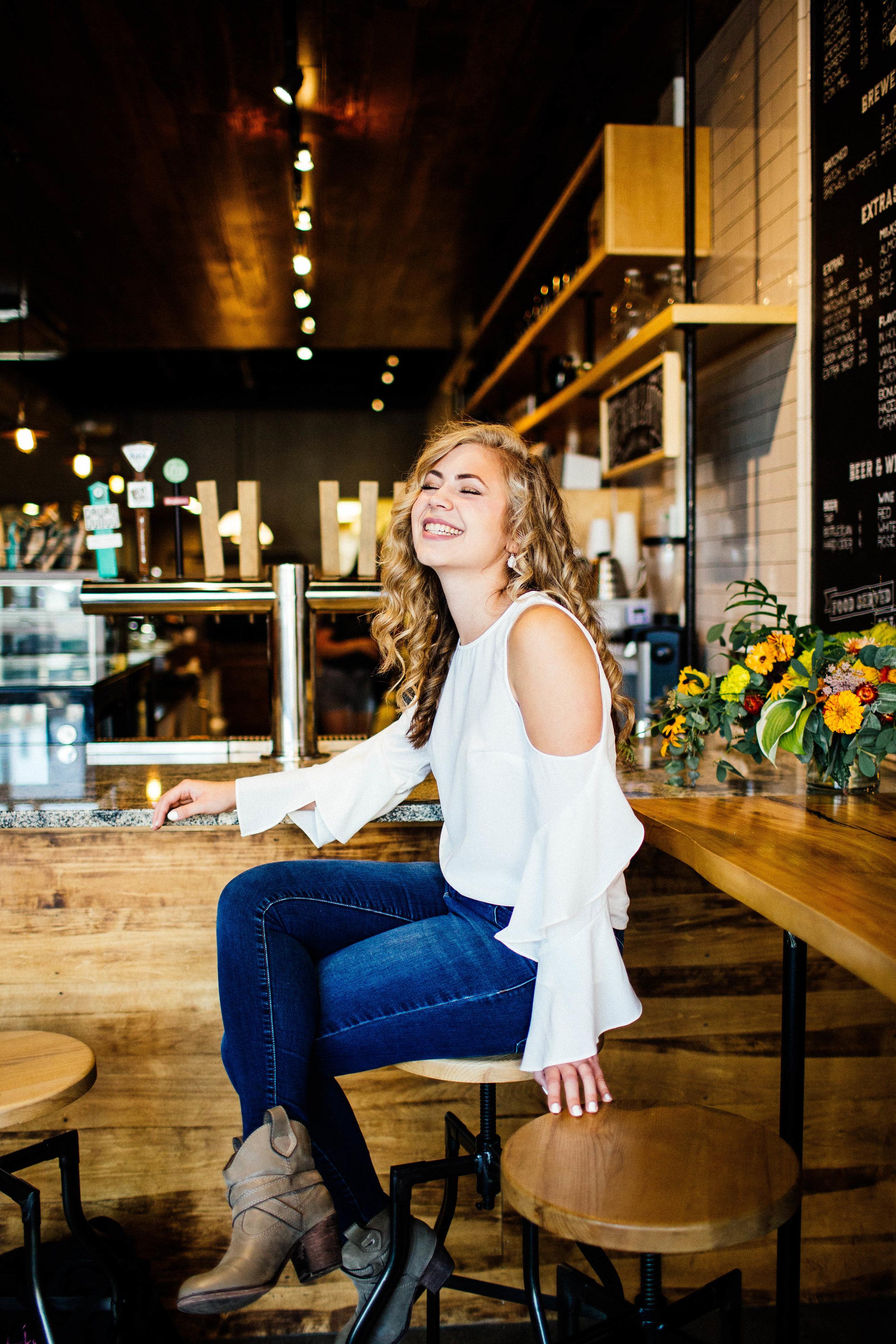 Minneapolis Senior Photographer at Quixotic Coffee in St. Paul