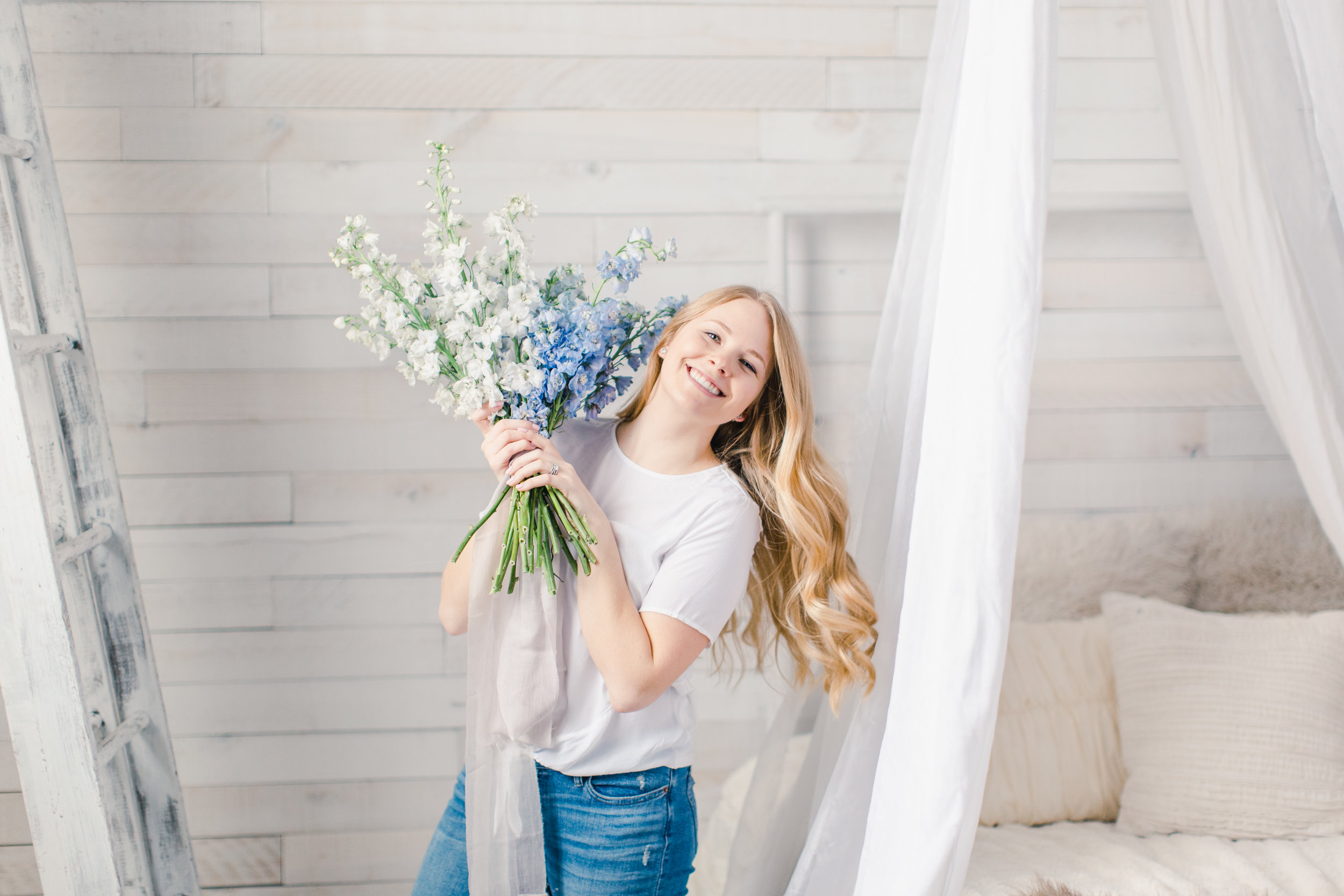 St Paul Lifestyle Portrait Session with fresh spring flowers