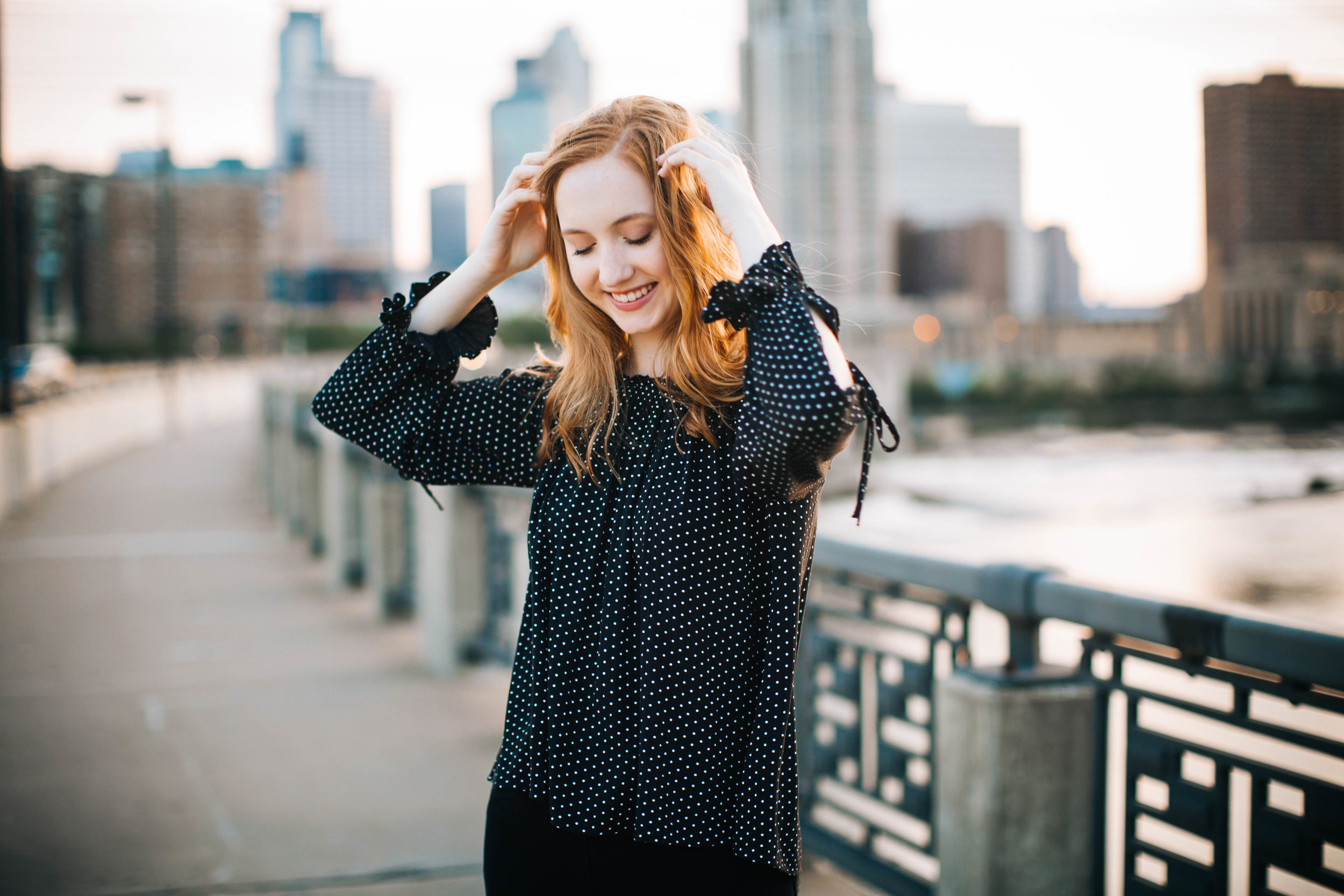 Downtown Minneapolis Skyline Senior Portrait Session