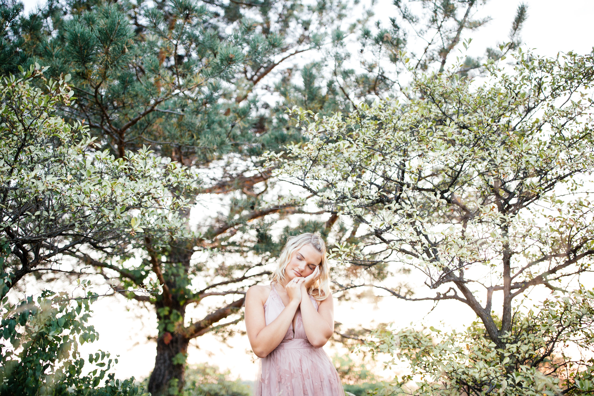 Pale pink dress for high school senior portrait shoot in Minneapolis