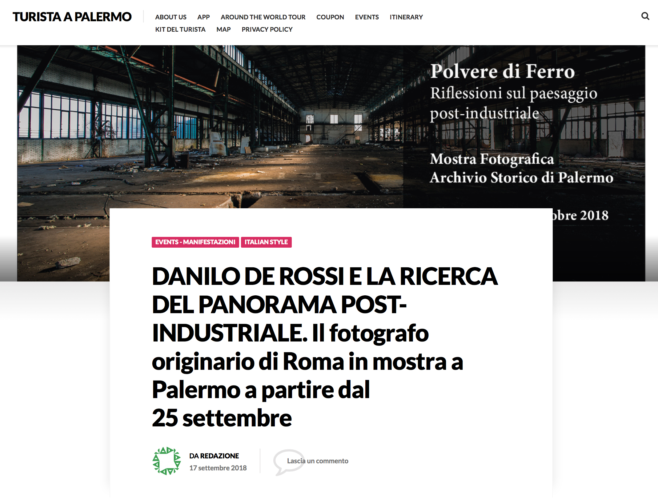An article on Turista a Palermo of the forthcoming exhibitions in Palermo -  full article here